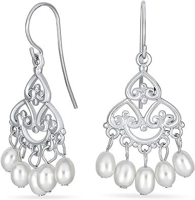white pearls filigree earrings vintage inspired Bridesmaid earrings set of 3 three pearl earrings bridesmaid gift, sterling silver
