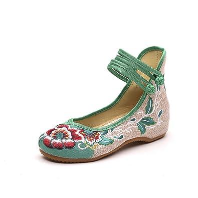 HANMAX Damen Blume-Stickerei Mary Jane Halbschuhe Chinesisch Ballerina Espadrilles Sommer Sandalen Schuhe