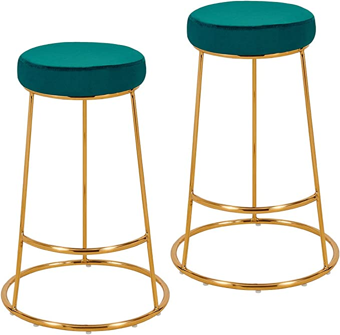 Set Of 2 Bar Stools Round Fabric Velvet Barstool Metal Legs Thick Upholstery Seat Height 67 Cm Colour Selection Duhome 5160h 9 Colour Teal Material Velvet Amazon Co Uk Kitchen Home
