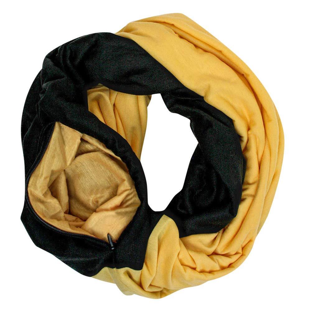 WensLTD Gift Women Loop Scarf Infinity Wrap Hidden Zipper Pocket Warm Travel Couple Scarves (Yellow) by WensLTD (Image #3)