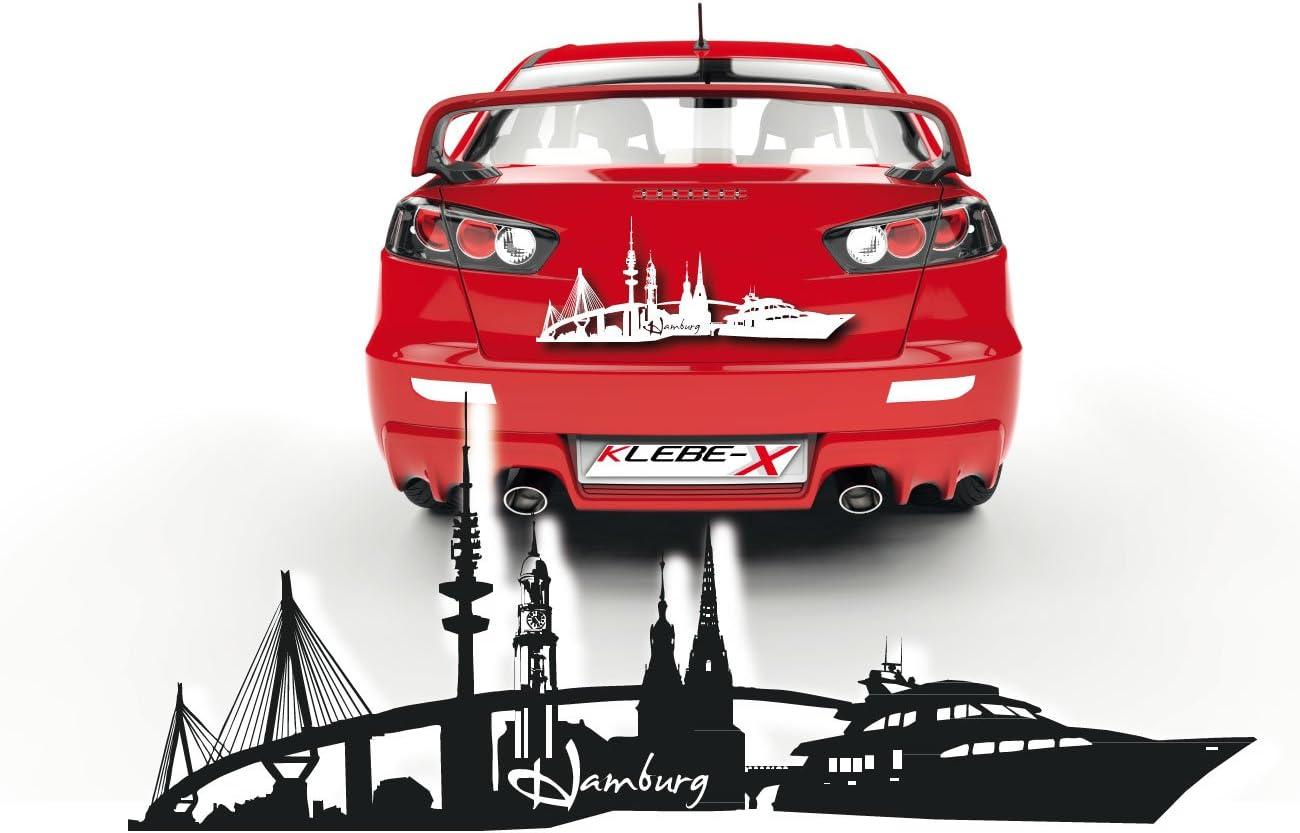 Tolle Skyline Autotattoos Von Klebe X Hamburg Silhouette Mit Sehenswürdigkeiten Aufkleber Aus Folie Skd008 Auto