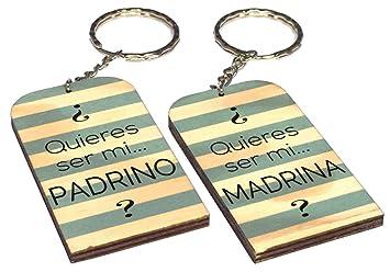 Gravure Events Lote: 1 Llavero Quieres ser mi Padrino + 1 Madrina - Un Original Regalo de Bautizo, para anunciar al Padrino, para cumpleaños, Navidad. ...