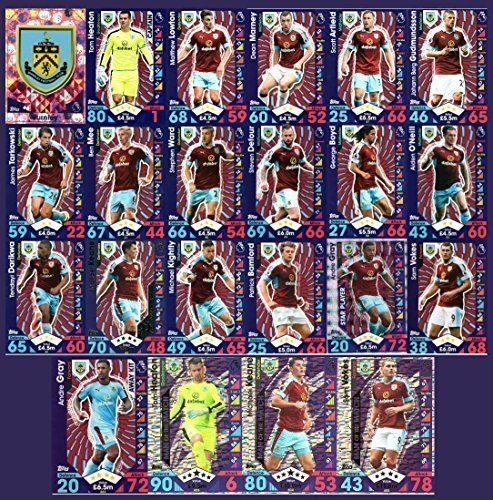 Price comparison product image MATCH ATTAX 2016 / 17 BURNLEY BASE TEAM SET inc ALL 3 MOTM (MAN OF THE MATCH) CARDS + BADGE,  AWAY KIT,  STAR PLAYER by Match Attax