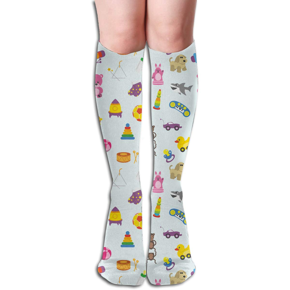 Womens Cotton High Sock Stylish Children And Kids Toys Pattern Long Stocking For Women