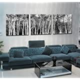 yozhohoo Poster Print Set 3 Piece Modern Wall Art Home Decor Trees Abstract Design in Black And White Unframed