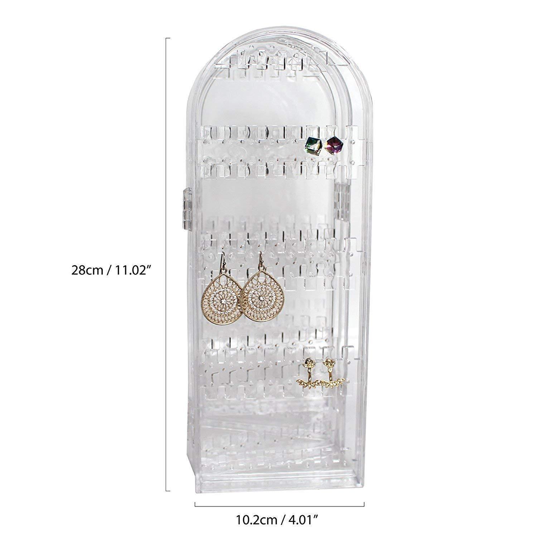Dise/ño Natural Organizador Joyas Plegable Acr/ílico Transparente Gabinete por Kurtzy Puede Contener 120 Pares de Pendientes Collares y Brazaletes Exhibidor Alto Pendientes