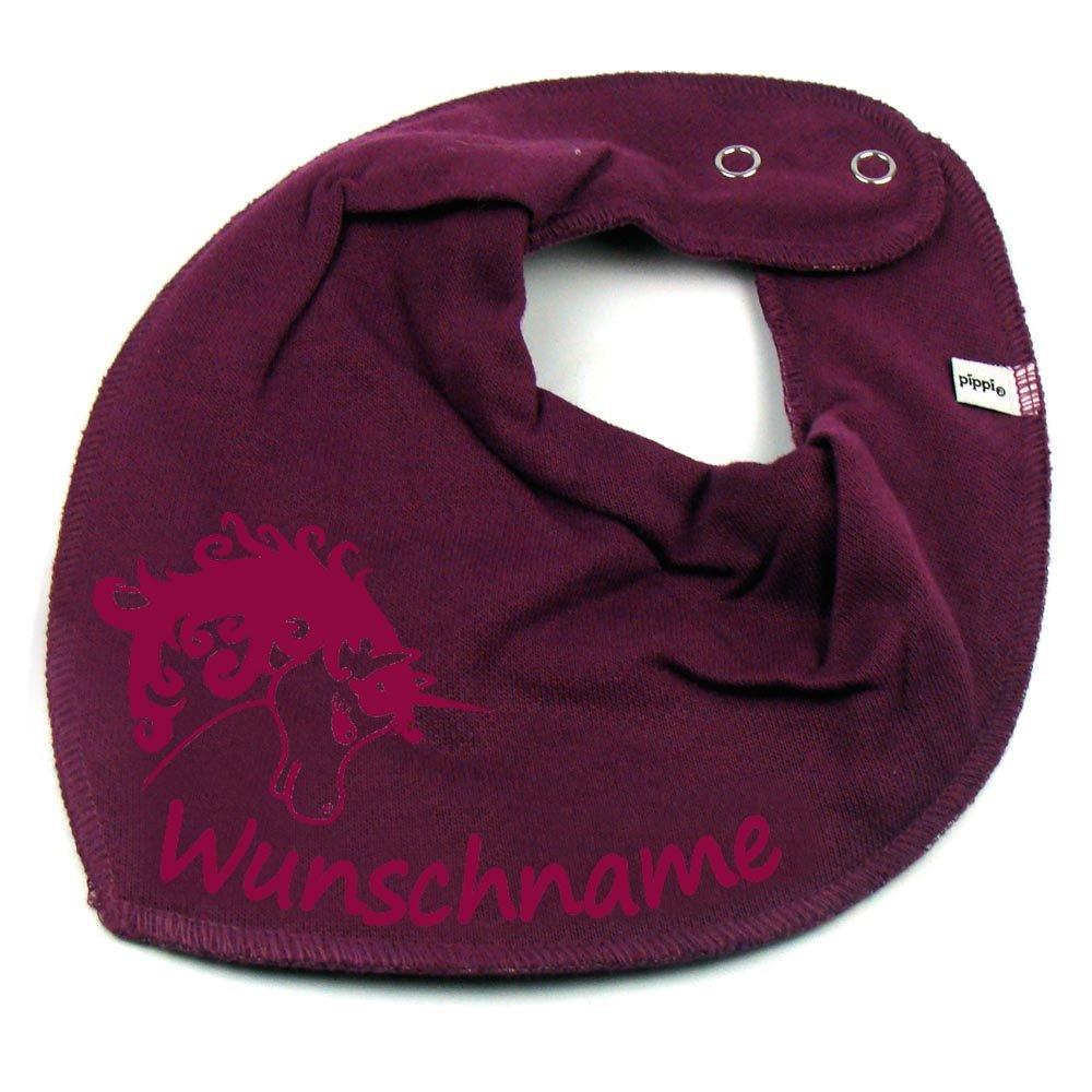 HALSTUCH Einhorn mit Namen oder Text personalisiert dunkelblau f/ür Baby oder Kind