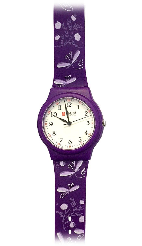 Prestige Medical Basic Scrub Watch, Dragonflies Purple
