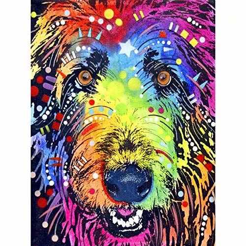 5D Diy Diamond Painting - Resin Cross Stitch Kit - Crystals Embroidery - Home Decor Craft - Cute Dog,9.8 X 11.8 Inch(Frameless) -