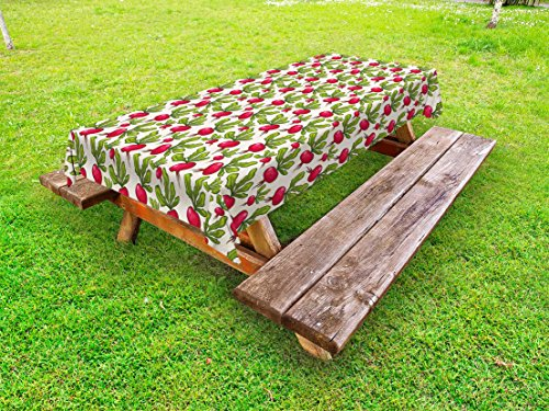 Lunarable Vegetables Outdoor Tablecloth, Radish Pattern Harvest Natural Healthy Salad Herbs Plant Agriculture Theme, Decorative Washable Picnic Table Cloth, 58 X 104 Inches, Ruby Fern Green - Radish Salad