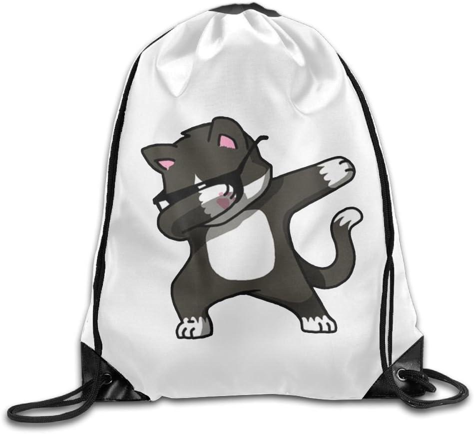 VIMUCIS Dabbing Cat Drawstring Backpack Rucksack Shoulder Bags Training Gym Sack For Man And Women