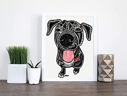 Ntart Black Dog Abstract Poster Print Black Zentangle Dog