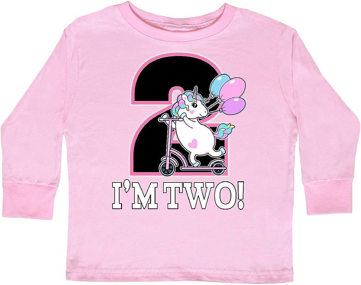 inktastic 2nd Birthday Unicorn 2 Year Old Girl Toddler Long Sleeve T-Shirt