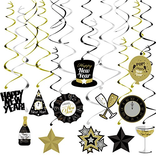 Tinksky Happy New Year Dizzy Danglers Foil Swirls Banner for New Year Party Decoration 30pcs