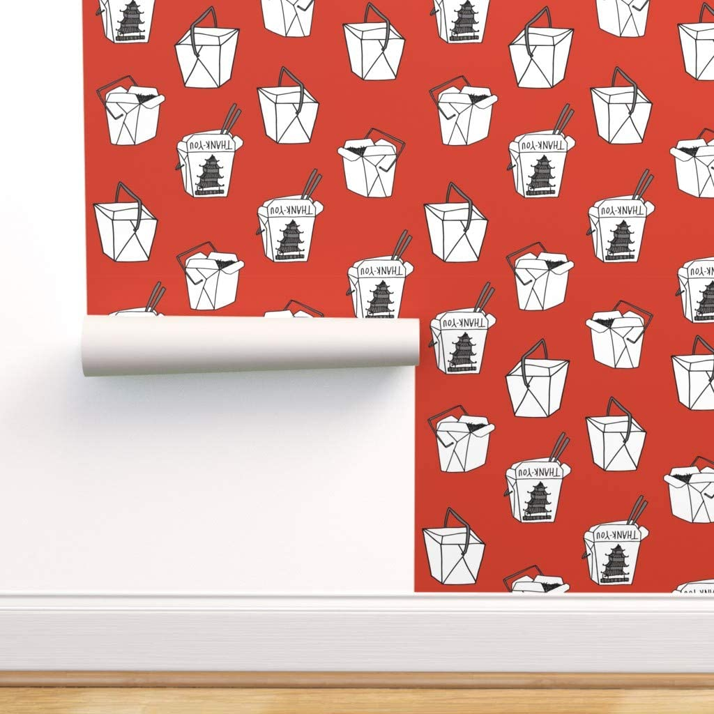 Spoonflower Peel and Stick Removable Wallpaper, Takeout Food Chinese Junk NYC Print, Self-Adhesive Wallpaper 24in x 144in Roll