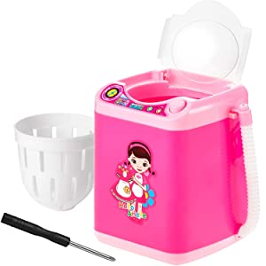 Makeup Washing Machine Mini Automatic Makeup Brush Cleaner Device, Deep Cleaning Machine for Sponge and Powder Puff Mini Toy (Pink and White)