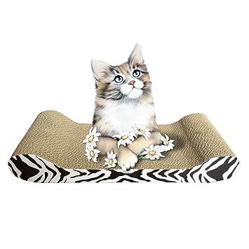 Jitong Durable Rascadores para Gatos con Patrón Carton Corrugado Alfombras Camas Juguetes de Mascotas (Caqui, 48 * 21 * 7.5cm): Amazon.es: Hogar