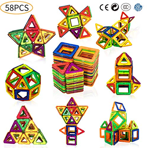 HENSUN Magnet Building Tiles Blocks, Magnetic 3D Building Blocks Set for Kids Toddlers, Magnetic Educational Stacking Blocks Boys Girls Toys with Storage Bag - 58Piece, Multicolor]()