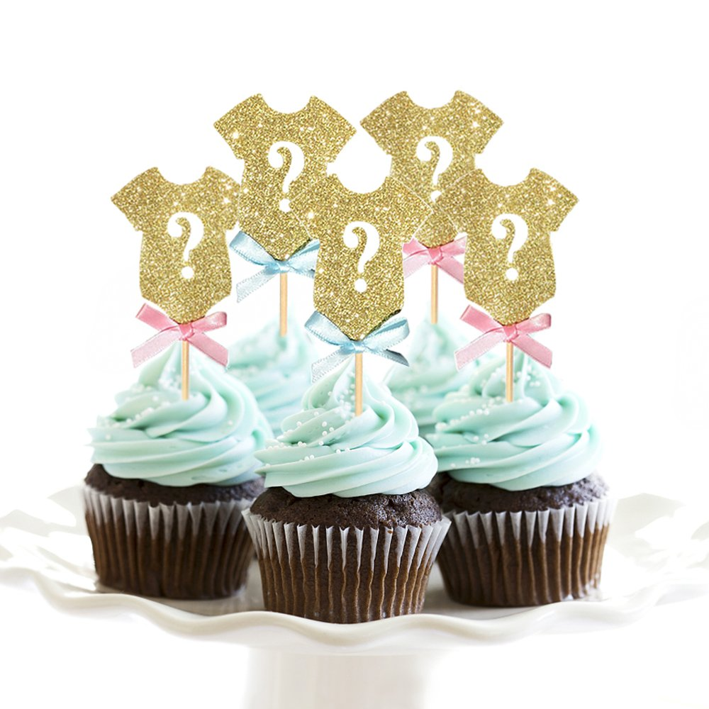 Amazon.com: HZOnline Glitter Cupcake Toppers Baby Shower, Gold ...