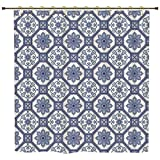 iPrint Shower Curtain,Arabian,Arabesque Floral Oriental Persian Afghan Medieval Baroque Tiles Shapes Tribal Artsy,Blue White,Polyester Shower Curtains Bathroom Decor Sets with Hooks