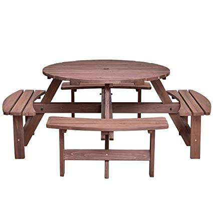 Super Amazon Com Lapha 8 Seat Patio Wood Round Table Seat Bench Unemploymentrelief Wooden Chair Designs For Living Room Unemploymentrelieforg