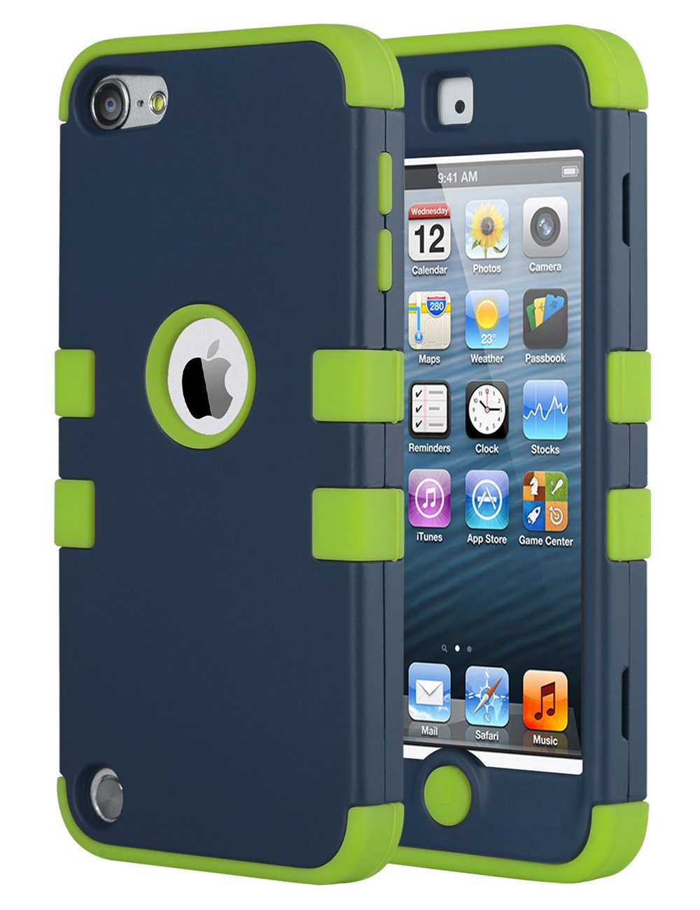 iPod Touch 6th Generation Case, iPod Touch 5 Case, ULAK 3 Layer Anti Slip Anti-Scratch Shockproof Protective Cover with Hybrid Soft Silicone Hard PC Case (Aqua Mint/Grey)