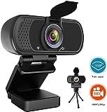 ウェブカメラ HP1080P WEBカメラ マイク 110°超広角マイク内蔵 高画質パソコンカメラ ワイドサイズ対応 skype会議用PCカメラ Windows 10/8 / 7 Mac OS X, Youtube, Skype XboxOne PC Macbook TV Boxサポート 三脚付属 保護カバー付き