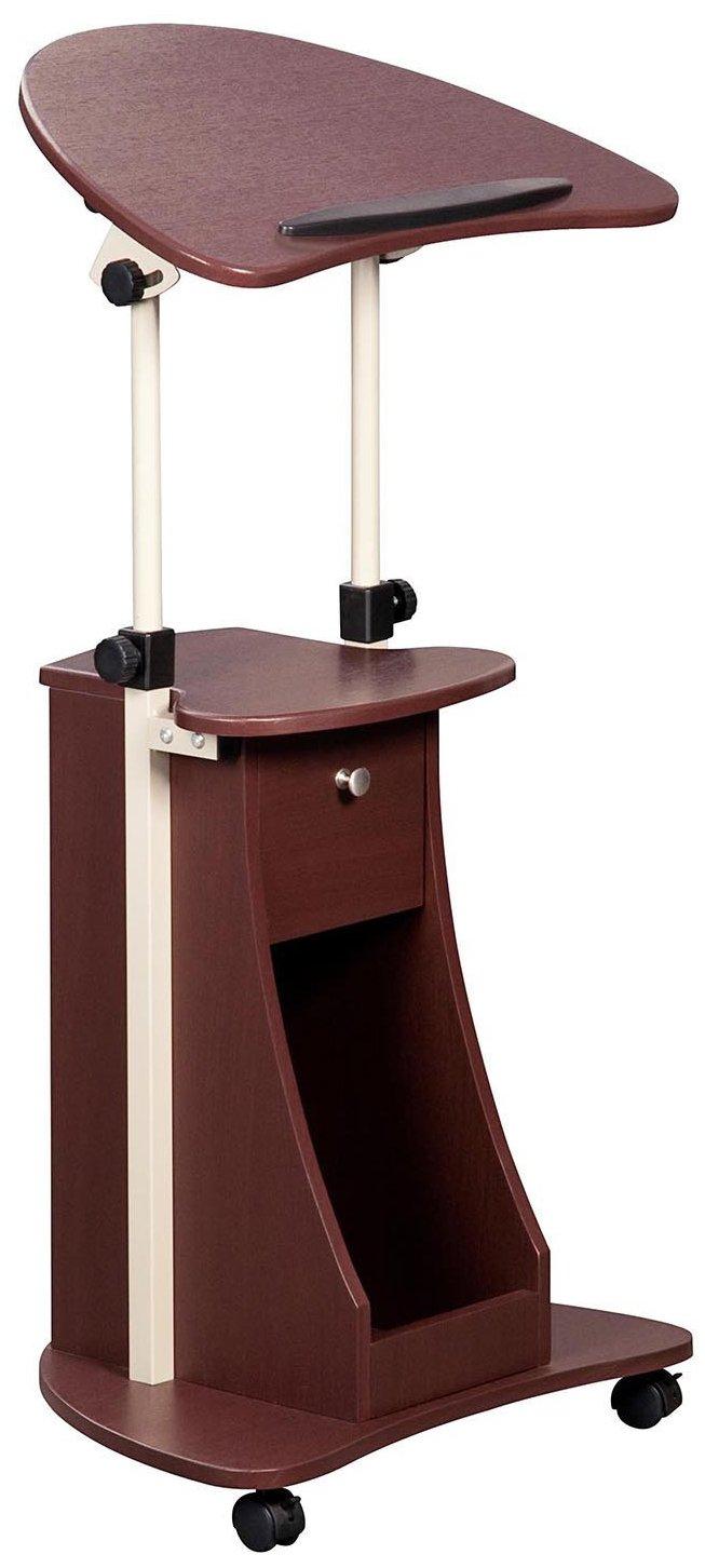 Techni Mobili Height Adjustable Laptop Cart Swivel Top Storage. Color: Chocolate