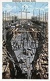 Seattle, Washington - Constructing a Steel Ship Scene (12x18 Art Print, Wall Decor Travel Poster)