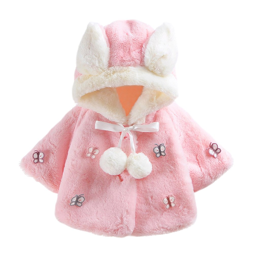 Baby Toddler Girls' Butterfly Hooded Faux Fur Cape Wrap Coat Cloak Pink 2-3