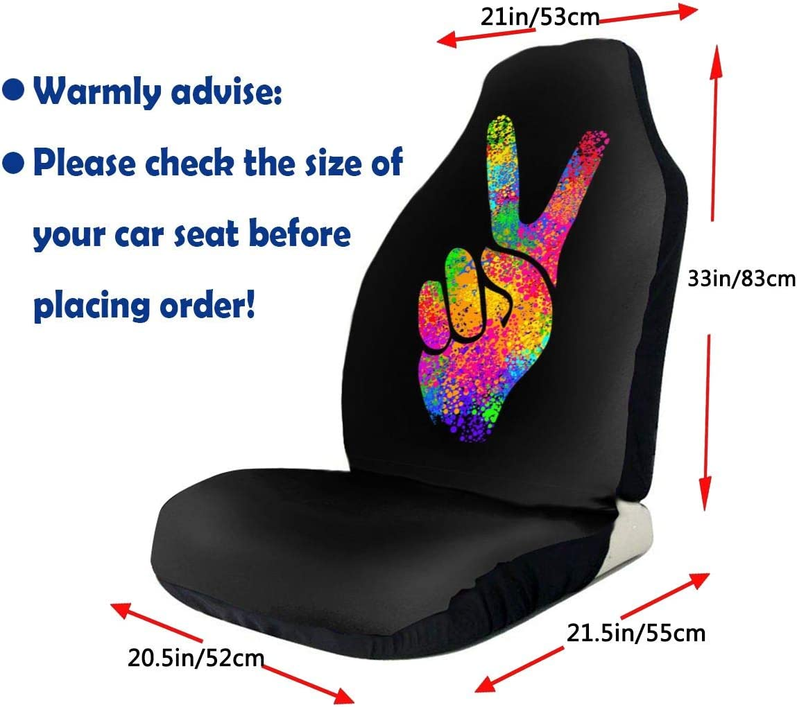 Foruidea Hippie Two Fingers Symbols Peace Sign Car Seat Covers Universal 2 PCS Auto Front Seat Cover Fit Most Cars,SUV,Sedan,Trucks