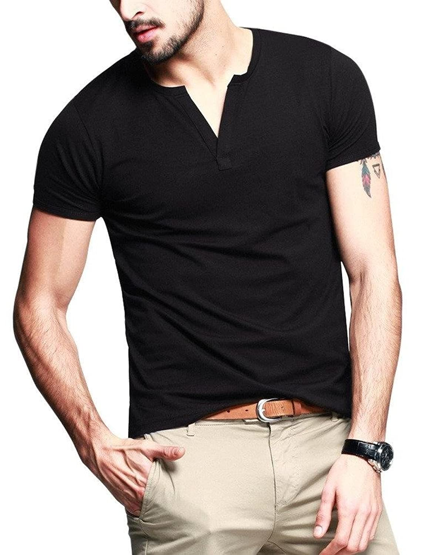 Neonysweets Mens Cotton T-shirts V Neck Short Sleeve Base Tee