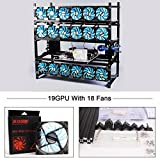 19 GPU Mining Case Rig With 18 LED Blue Fans Aluminum Stackable Open Air Miner Case Frame Bitcon Miner Kit for Ethereum(ETH)/ETC/ ZCash Bitcoin,and Altcoins Unassembled(Black Frame, Blue Fans)