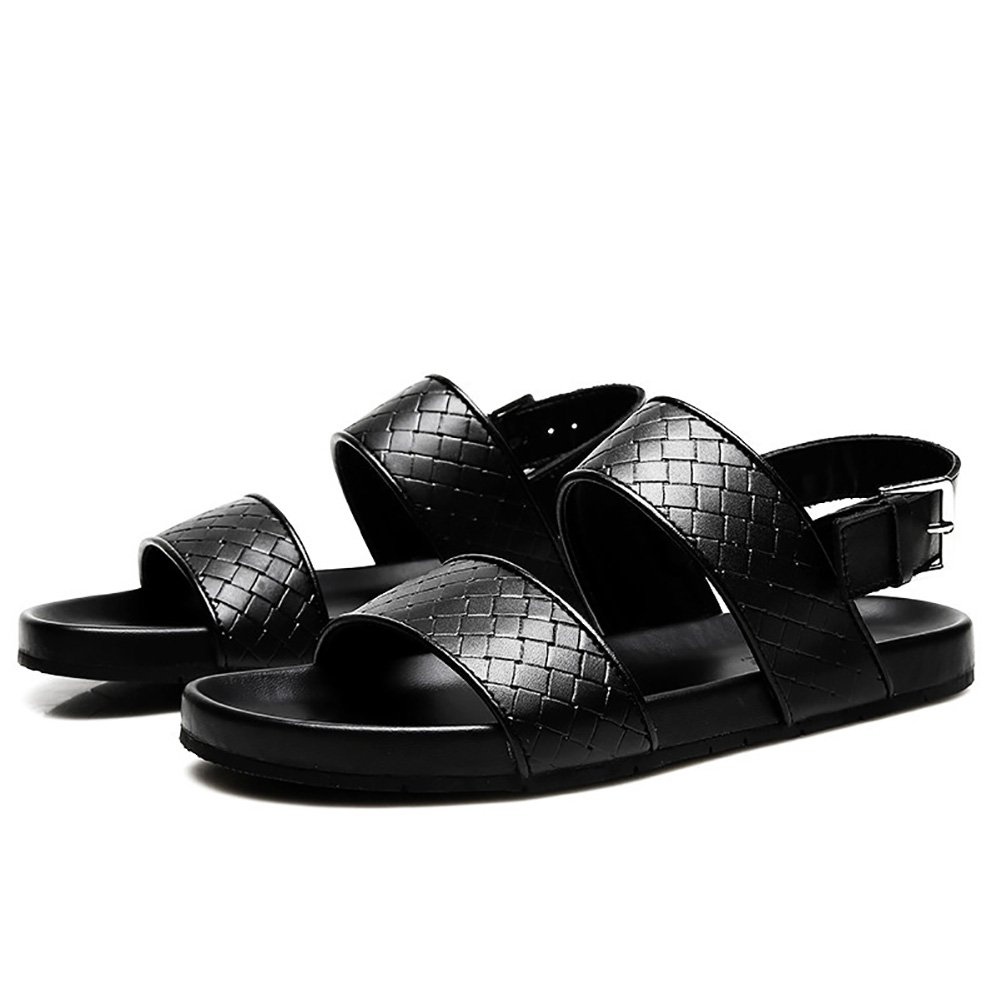 Zapatillas de playa Sandals Man Summer Slipper Soft Cuero Genuino antideslizante Open-Toe Hebilla de metal Negro (38-46 Talla) (Tamaño : 43) -