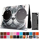 Macbook Air 13'' Case and Keyboard Protector, AICOO YCL 2 in 1 Beautiful Pattern Hard Case Cover With Keyboard Cover Skin For MacBook Air 13.3 inch (A1466/A1369) - Cat Wearing Glasses