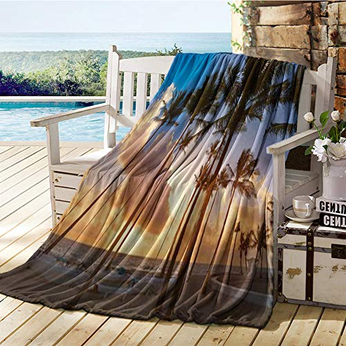 Zara Henry Printing Blanket,Fort Lauderdale Beach Morning Sunrise in Florida USA Palm Trees, Plush Throw Blanket 70