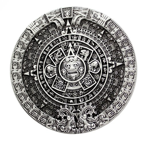 Buckle Antique Silver (Q&Q Fashion Men Antique Silver Aztec Mayan Indian Detailed Calendar Mask Western Belt Buckle)