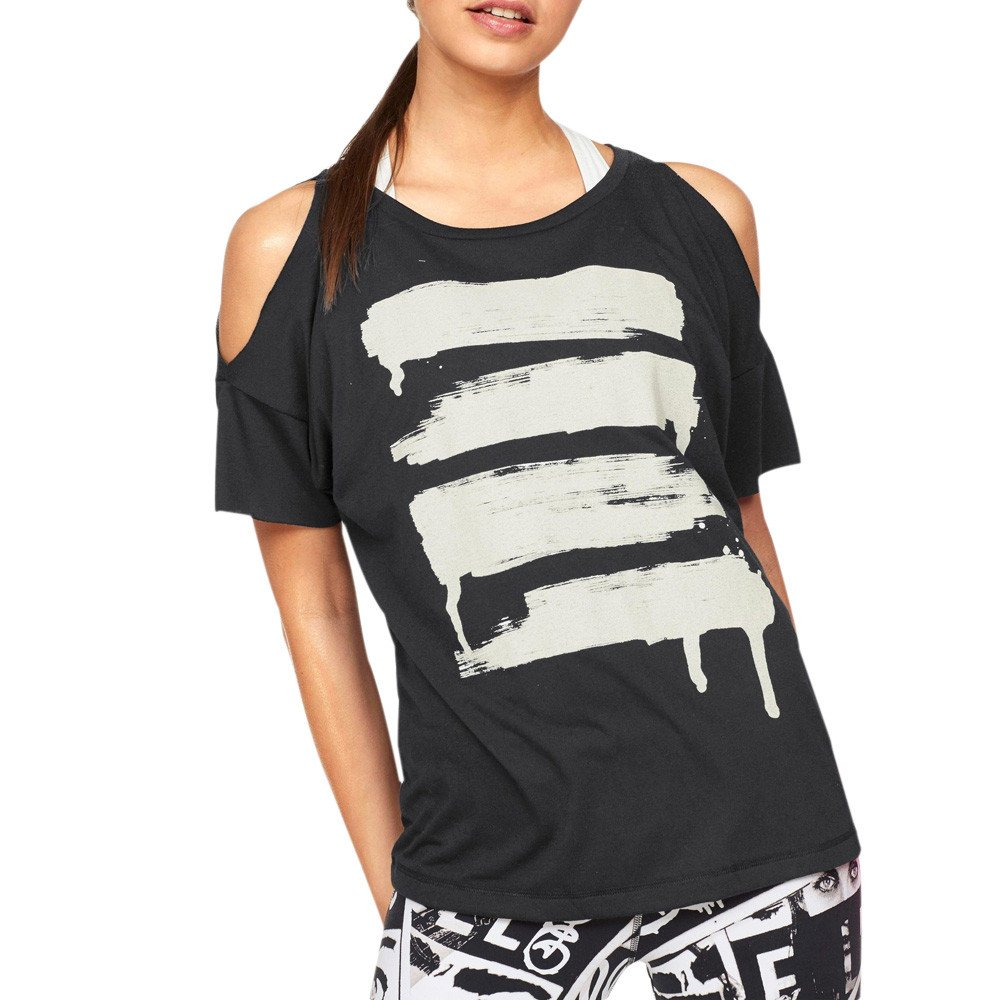 iLOOSKR Fashion Short-Sleeved Bottoming Shirt tee Ladies Off-The-Shoulder Print Yoga Shirt T-Shirt(Black,S)