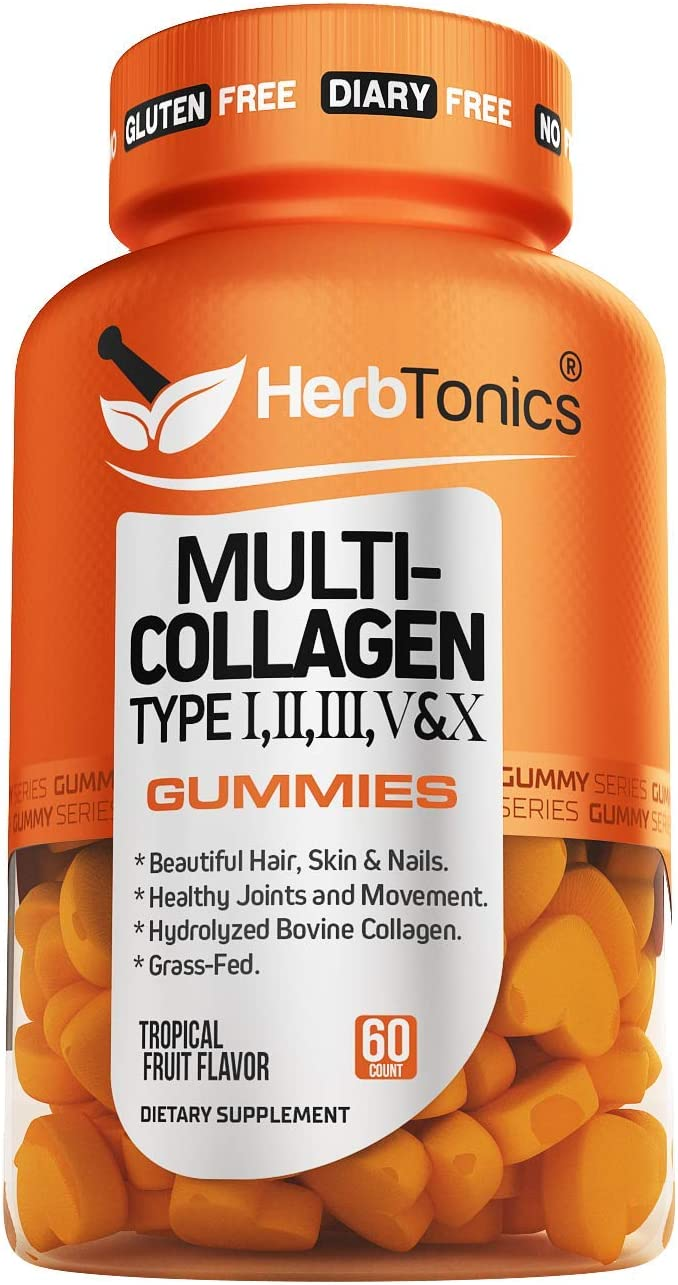Multi Collagen Gummies Type 1,2,3,5 & 10 + Vitamin C & Zinc for Hair Growth Skin & Nails Supplement Vitamins for Men & Women, Non-GMO, Gelatin-Free, 60 Gummies