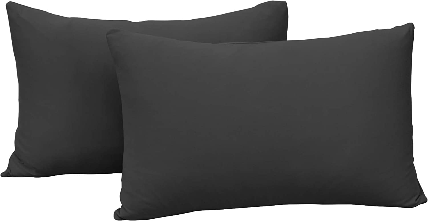 2-Pack Stretch Pillow Cases - Jersey Knit & Ultra Soft Envelope Closure Pillowcases T-Shirt Like Microfiber Blend - Suitable for Queen or Standard Size Set of 2, Dark Gray