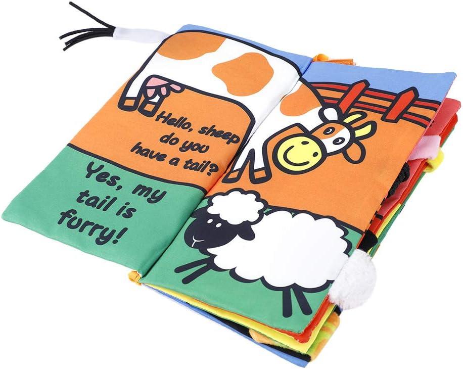 Libro de tela para beb/és juguetes educativos con colas de animales para ni/ños mayores de 3 meses Animal