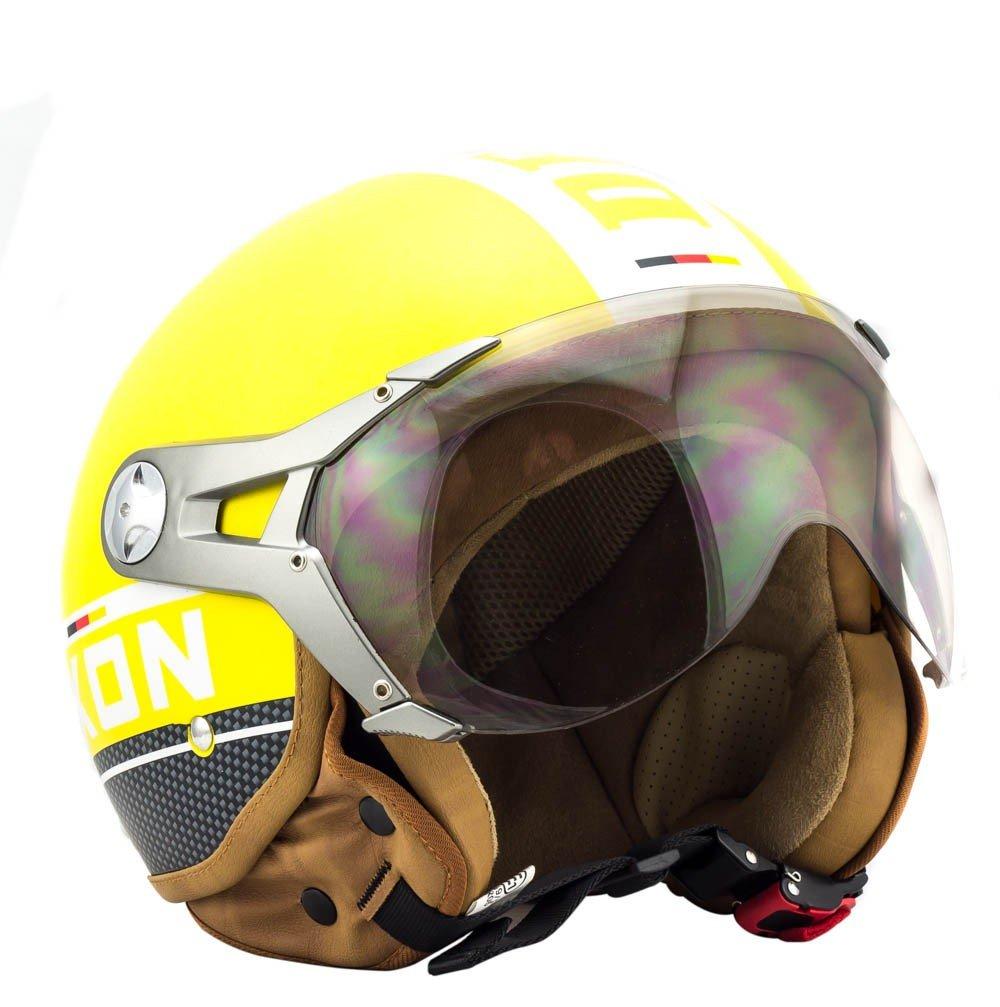 SOXON SP-325-PLUS Titanium /· Vintage Retro Helmet Cruiser Casque Jet Moto Biker Mofa Scooter Demi-Jet Chopper Pilot Vespa Bobber /· ECE certifi/és /· y compris le pare-soleil /· y compris le sac de casque /· Gris /&middo