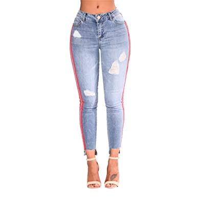 a18356f10b85c SKINNY JESNS Women Denim Pants Side Striped Full Length Jeans Ladies Hip  Ripped Trousers Girls at Amazon Women's Jeans store