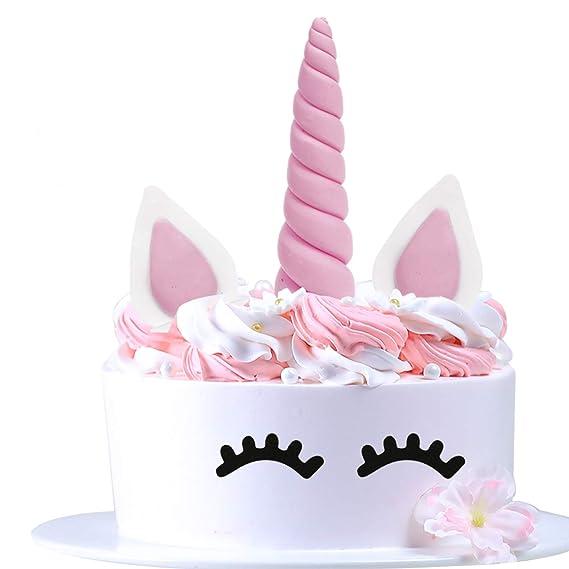 AIEX Cake Topper Rosa Einhorn Kuchendeko für Geburtstag 1.37x5.5inches