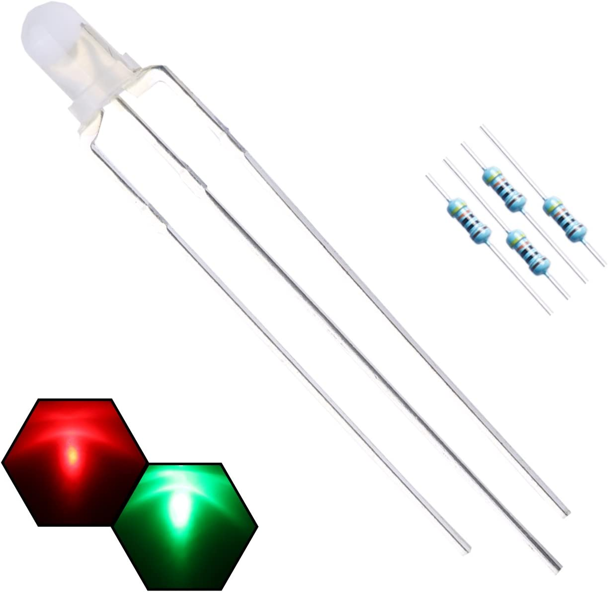 Row of 20 Ultra Bright Transparent 5mm LED Diode Light Emitter Lamp