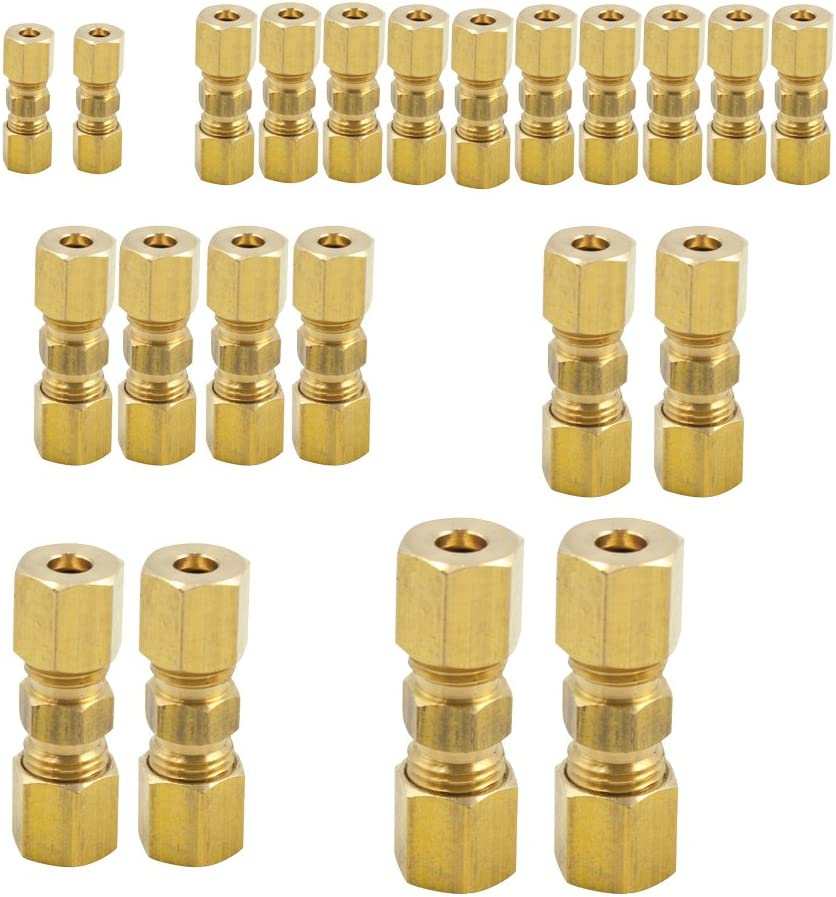 "Brass 7//16/"" OD Compression Union Pack of 5 BRASS COMPRESSION FITTING"