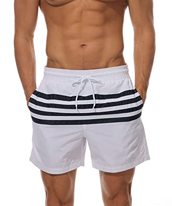 66a274f4 JINSHI Men's Slim Fit Shorts Quick Dry Swim Trunks with Mesh Lining ...