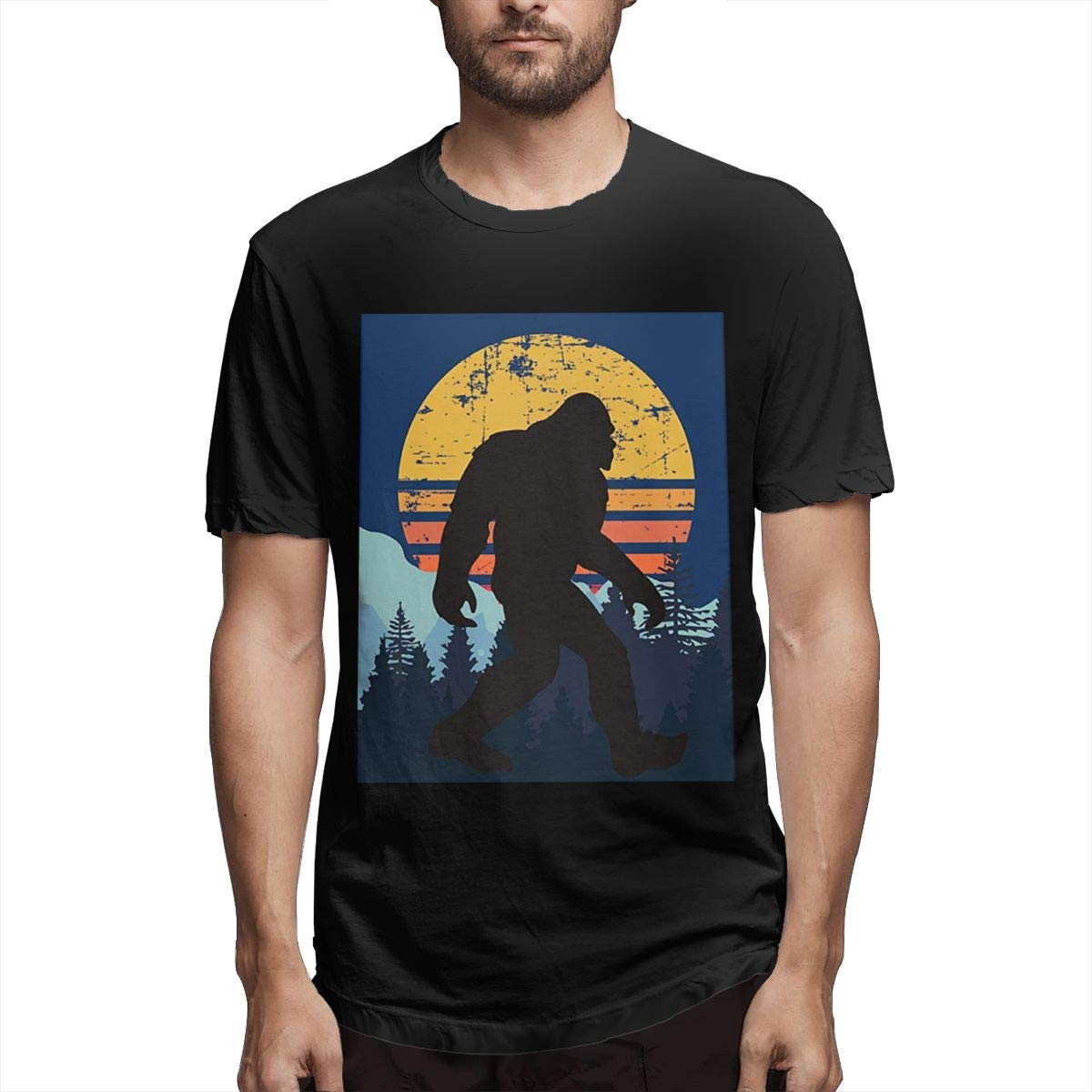 Chouven Men Retro Bigfoot Silhouette Sun Short Sleeve T Shirt