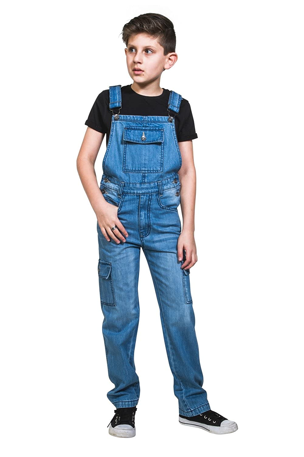 1930s Childrens Fashion: Girls, Boys, Toddler, Baby Costumes Uskees Kids Palewash Denim Dungarees Age 4-14 Boys Girls Cargo Overalls BENJAMINPW £29.99 AT vintagedancer.com