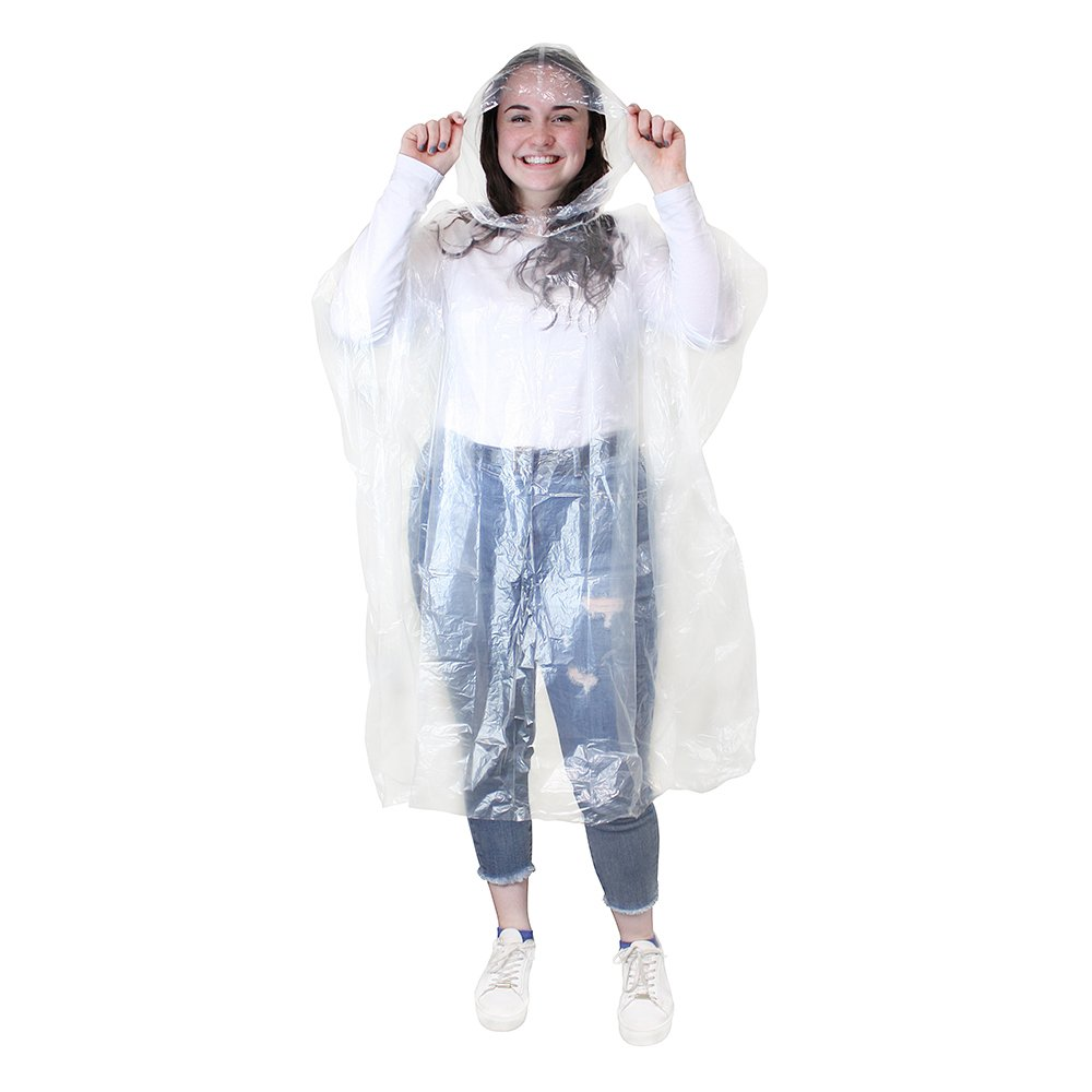 eBuyGB Pack of 4 Transparent Waterproof Emergency Rain Ponchos, Transparent 1216522-4c